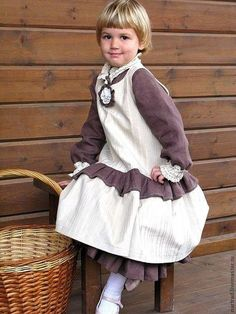 Buy or order Sundress-boho Girl in online shops on My Livemaster. Sundress for adorable young ladies. The buttoning on the back. Comfortable cotton corduroy milky color easy to wear and care for, perfectly erased. Under the sundress bottom brown skirt. Blouse and skirt must be ordered separately. Close-up PHOTO www.livemaster.ru/topic/136909-snova-fotosessiya?