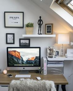 The Better Space — Owner: Laura Barnett, Makeup. Interior Design Inspiration, Home Interior Design, Room Inspiration, Mac Desk, Cool Desktop, Asian Decor, Transitional Decor, Eclectic Decor, Contemporary Decor