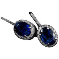 6.73 Carat Sapphire Diamond Platinum Drop Earrings   From a unique collection of vintage drop earrings at https://www.1stdibs.com/jewelry/earrings/drop-earrings/