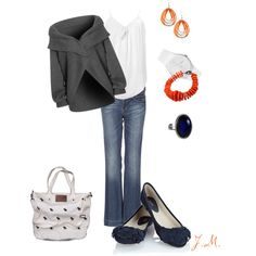 Love the orange accents with the grey, created by jenniemitchell.polyvore.com