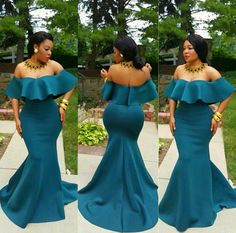 2018 African Mermaid Prom Dresses Long With Off The Shoulder Sleeves Evening Gowns on Luulla Evening Gowns With Sleeves, Plus Size Evening Gown, Formal Evening Dresses, Formal Gowns, Formal Dress, Prom Gowns, Long Dresses, African Fashion Dresses, African Dress