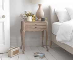 Olivia bedside table with Frenchie upholstered bed