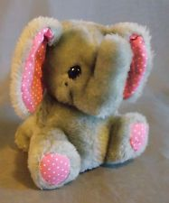 "Dakin Fun Farm Elephant Plush Pink Grey 1983 5 "" Seated Polka Dot Ears Feet"