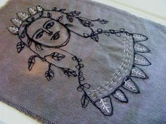 Original embroidery art  May queen flower girl   by The7thMagpie, £37.00