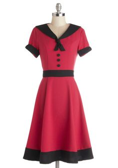 Come As You Aura Dress - Woven, Long, Red, Black, Buttons, Trim, Casual, A-line, Short Sleeves, Better, V Neck, Tie Neck, Nautical, Pinup, V...