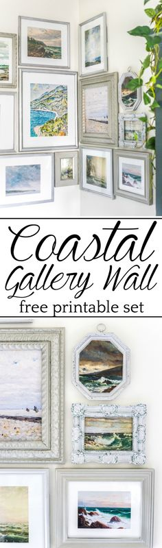 A free printable set of a coastal gallery wall featuring antique ocean paintings and how to frame them inexpensively with thrifted finds. #coastaldecor Affordable Home Decor, Unique Home Decor, Home Decor Items, Home Decor Accessories, White Poster Board, Modern Gallery Wall, Gallery Walls, Farmhouse Side Table, Room Decor