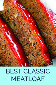 The Best Classic Meatloaf - Best meatloaf recipe ever! Traditional meatloaf just like mom used to make with ground beef and a ketchup based glaze topping. Meatloaf Recipe Video, Classic Meatloaf Recipe, Meat Loaf Recipe Easy, Meat Recipes, Cooking Recipes, Casserole Recipes, Amish Recipes, Dutch Recipes, Dinner Recipes