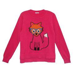 Girls' Fox Sweater - Bright Pink