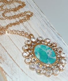 Turquoise Necklace Delicate Long 24k  Gold Necklace by inbalmishan, $89.00