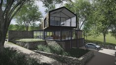 House Stedall, Contemporary house, modern steel, glass, concrete. The Hills Estate