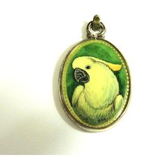 White Cockatoo Parrot Hand Painted Cameo Pendant Sterling Silver... ($29) ❤ liked on Polyvore featuring sylcameojewelsstore