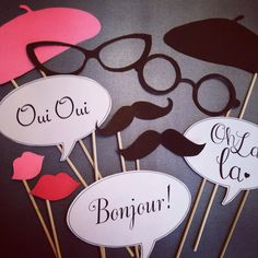 Paris themed Photo booth props by IGotMadProps on Etsy