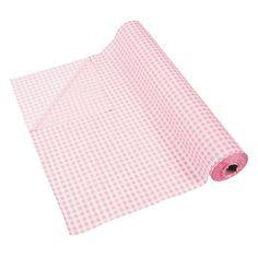 Light Pink Gingham Tablecloth Roll - OrientalTrading.com
