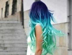 Beautiful blue-green ombre hair.