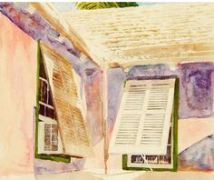 """shutters chatting up an airfull pitts bay bda  20"""" x 26""""  micheal zarowsky / watercolour on arches paper / (private collection)"""