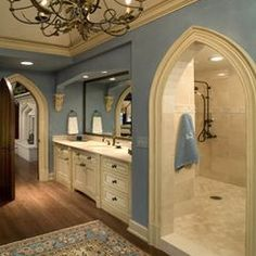 shower passage behind sink vanity wall - i love this concept - the colors, architecture, chandelier are all very nice!  ******************************************  Michael Matrka - #shower #behind #sink #bathroom - tå√