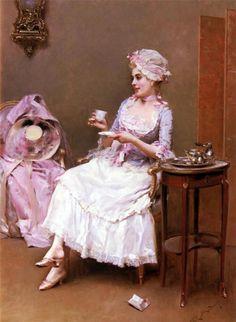 Chocolate quente, s/d Raimundo de Madrazo y Garreta (Espanha, 1841-1920) óleo sobre tela, 86 x 66 cm Coleção Particular