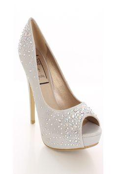 Silver Shimmer Fabric Rhinestone Pump Heels