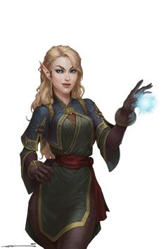 f High Elf Wizard Robes Cloak casting female urban City Tower lg Dungeons And Dragons Characters, Dnd Characters, Fantasy Characters, Female Characters, Fantasy Character Design, Character Design Inspiration, Character Concept, Character Art, Fantasy Races