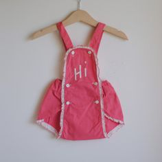 Vintage Baby Girl Romper Pink 'HI' by Stone Stone Stone Hart New Baby Girl Names, Mom And Baby, Little Girl Dresses, Baby Dresses, Girls Dresses, Girls Rompers, Baby Rompers, Babies First Words, Baby Announcement Cards