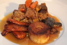 Delicious Chunks of beef and root vegetables in a rich stock sauce.