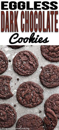 These Eggless Dark Chocolate Cookies are thin and crispy, and SO delicious! They' re super easy to make and dough freezes beautifully. A must-have recipe for chocolate lovers in your life! recipe eggless egglessbaking cookies chocolate easy via Eggless Chocolate Cookies, Eggless Cookie Recipes, Dark Chocolate Recipes, Eggless Desserts, Vegan Dark Chocolate, Eggless Baking, Chip Cookie Recipe, Delicious Cookie Recipes, Dessert Recipes
