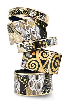 Frey Wille Gustav Klimt Enamel Bracelets, I was very lucky to have bought a similar one, as a ring in white gold, in Vienna Airport in 2002... I fell in love and thought if the ring fits, I must buy it, which I did.