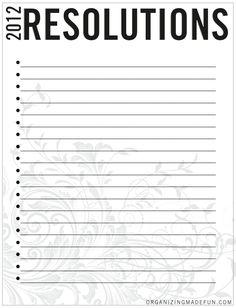 FREE Printable for organizing your resolutions | OrganizingMadeFun.com