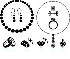 jewelry black and white royalty free vector icon set vector art illustration