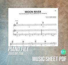 """Moon River - Piano-Guitar Tab Music Sheet PDF File """"Moon River"""" is a song composed by Henry Mancini with lyrics by Johnny Mercer . Record Of The Year, Song Of The Year, Moon River Lyrics, 1961 Movies, Henry Mancini, Guitar Tabs, Original Song, Piano, Sheet Music"""