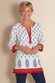 Misses Tops, Misses Size Tops Kurta Designs, Dress Designs, Classy Outfits, Casual Outfits, Fashion Outfits, Fashion Fashion, Red Tunic, Tunic Tops, Blouse And Skirt