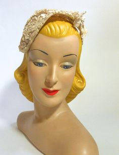 Something Old, Something Blue Lacy Bridal Hat circa - Dorothea's Closet Vintage Vintage Mannequin, Mannequin Heads, Vintage Couture, Vintage Bridal, Historical Hairstyles, Blue Lacy, Vintage Style Shoes, Bridal Hat, Bridal Gowns