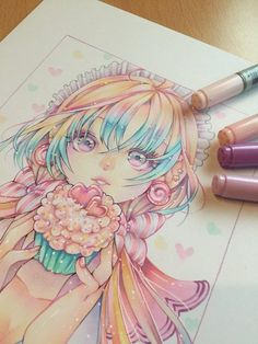 Pin de madelyn s. en art manga art, anime art y copic art. Copic Marker Art, Marker Kunst, Copic Art, Copic Markers, Cartoon Kunst, Anime Kunst, Cartoon Art, Copic Drawings, Kawaii Drawings