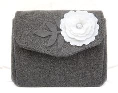 Gray Wool Tweed Wallet with White Felt Applique by TheBowMakers