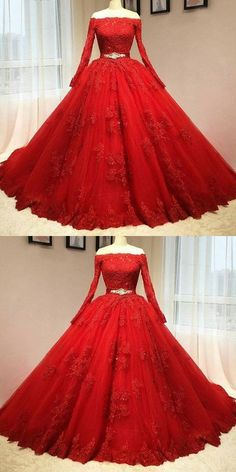 Red long-sleeved beaded gown