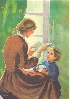 Mother Reading to Child - Martta Wendelin Fun Illustration, Found Art, Fairytale Art, Old Paintings, Christmas Art, Love Art, Martini, Vintage Art, Amazing Art