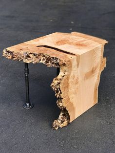 Live Edge Maple Waterfall End Table With Pipe Legs Live Edge