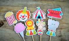 Big Top Circus Party - Set of 24 Assorted Circus Cupcake Toppers by The Birthday House Baby 1st Birthday, Carnival Birthday, 1st Birthday Parties, Kid Parties, Circus Cupcakes, Big Top Circus, Circus Decorations, Circus Theme Party, Party Kit