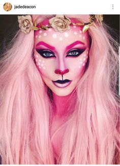 Transformations for Halloween with Body Paint Pink Reindeer. Fantasy Transformations for Halloween with Body Paint. By Jade Deacon. Fantasy Transformations for Halloween with Body Paint. By Jade Deacon. Cosplay Makeup, Costume Makeup, Maquillage Sugar Skull, Henna Tatoo, Make Carnaval, Fantasy Make Up, Dark Fantasy, Creative Makeup Looks, Special Effects Makeup