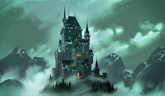 Living Lines Library: Hotel Transylvania - Visual Development: Environment Vampire House, Vampire Castle, Environment Concept, Environment Design, Fantasy Castle, Fantasy Art, Illustration Tumblr, Illustration Styles, Illustrations
