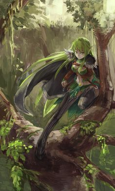 Anime 2000x3318 anime anime girls Elsword Rena (Elsword) green hair green eyes long hair trees forest elves fantasy girl