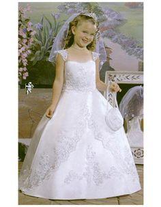 Discount Ball Gown White First Communion Dresses/ Lovely Full Length Cap Sleeves Beaded Appliques Flower Girl Dresses