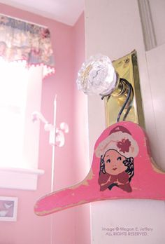 Child's hanger with girl decal. From Megan Jeffery's blog, Beetlegrass.