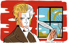 Nice illustration! • Happy birthday Kierkegaard. He is the dramatic thunderstorm at the heart of philosophy and his provocation is more valuable than ever