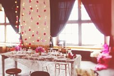 Table Setting in Rustic Wool Factory | Pink & Gold Colour Scheme | A Vintage Wedding Inspiration Shoot | An Old Wool Factory In Rustic Italy | Images by Aljosa Videtic Photography | http://www.rockmywedding.co.uk/a-vintage-wedding-at-the-old-wool-factory/