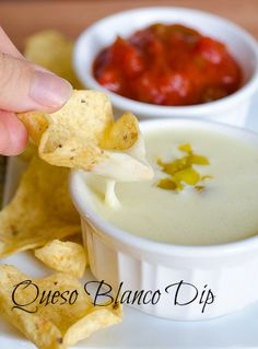 Queso Blanco Dip (White Cheese Dip), The Second and Final Attempt.taste like Mexican restaurant white cheese dip! Dip Recipes, Appetizer Recipes, Mexican Food Recipes, Great Recipes, Snack Recipes, Appetizers, Favorite Recipes, Recipies, Veggie Recipes