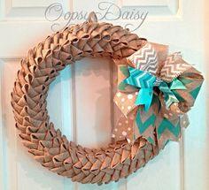 "18"" petal bubble burlap wreath, chevron burlap wreath, spring wreath,anytime wreath, Easter wreath, Tiffany blue wreath on Etsy, $73.00"