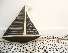 ORGANIC Sailboat Pillow Mint Flag by juniperwilde on Etsy