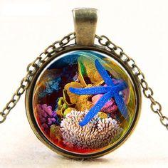 Elegant Pendant Necklace Blue Starfish Underwater World New Design Picture Gift #BAIBAOROOM #Trendy