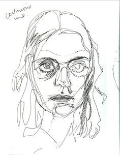 Drawing, elements of art line, face lines, charcoal drawing, self portrait Continous Line Drawing, Elements Of Art Line, Contour Line, Face Lines, Continuous Line, Gesture Drawing, Sketch Inspiration, Art Classroom, Art Sketchbook